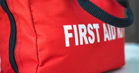 emergency first Aid bag red